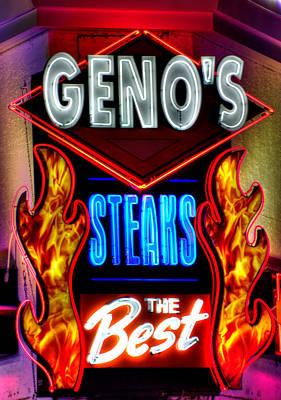 Geno's Steaks-3 Close - The Best - Ninth And Passyunk In South Philadelphia Art Print by Michael Mazaika