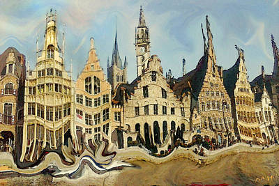 Painting - Gent Medieval Skyline by Peter Potter