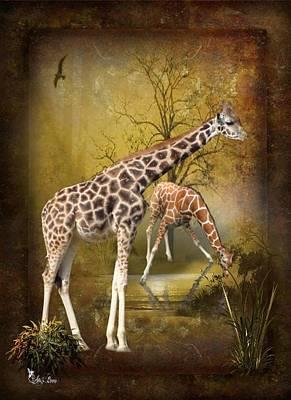 Digital Art - Gental Giraffe by Ali Oppy