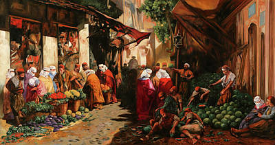 Painting Royalty Free Images - Gente Al Mercato Royalty-Free Image by Guido Borelli
