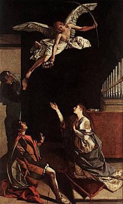 Gentileschi Orazio Sts Cecilia Valerianus And Tiburtius Art Print