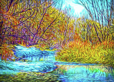 Digital Art - Gentle Autumn Streaming by Joel Bruce Wallach