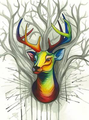 Gentle Deer Spirit Original by Sarah Jane