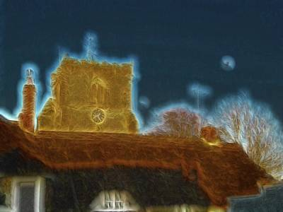 Photograph - Gentle Evening Cottages And Church With Attendant Rooks And The Moon by Richard Thomas