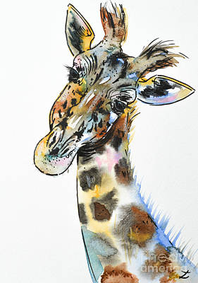 Painting - Gentle Giraffe by Zaira Dzhaubaeva