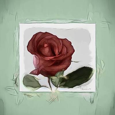Digital Art - Gentle Rose by Bonnie Willis