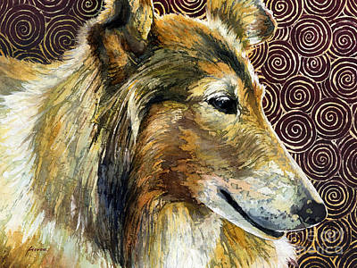 Watercolor Pet Portraits Painting - Gentle Spirit - Reveille Viii by Hailey E Herrera