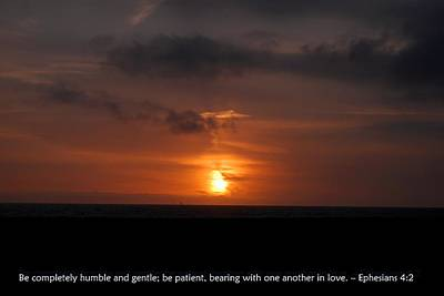 Photograph - Gentle Sunset Of Love With Ephesians 4-2 Scripture by Matt Harang