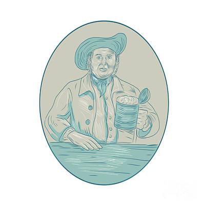 Tankard Digital Art - Gentleman Beer Drinker Tankard Oval Drawing by Aloysius Patrimonio