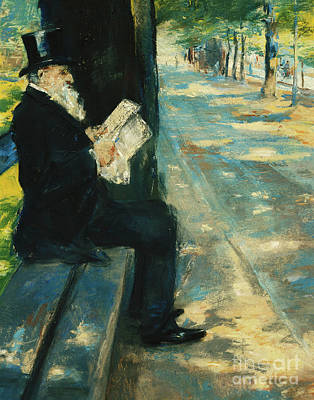 Victorian Era Wall Art - Pastel - Gentleman In The Park by Lesser Ury