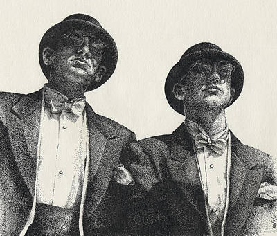 Stippling Drawing - Gents by Amy S Turner