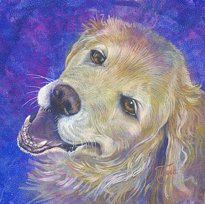 Dog Lab Yellow Labrador Retriever Dogs Pup Puppies Domestic Animal Animals Painting - Genuine Golden by Thyra Moore