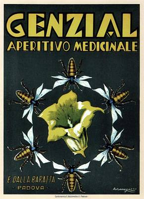 Mixed Media - Genzial Aperitivo Medicinale - Flowering Plant - Vintage Advertising Poster by Studio Grafiikka