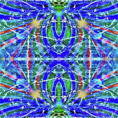 Painting - Geo Flash Blue by Rachel Hannah