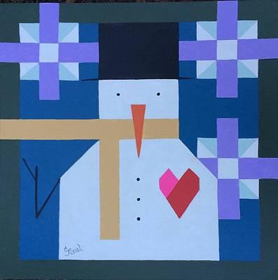 Painting - Geo Snowman by Carol Neal