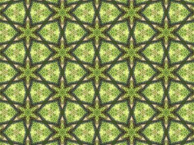 Geo Stars In Greens Art Print