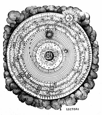 Hierarchy Drawing - Geocentric Universe Showing The Earth Surrounded By The Spheres Of Water, Air And Fire, And Stars by Robert Fludd