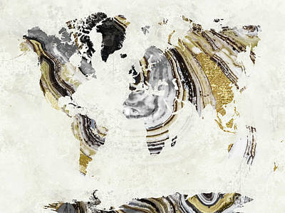 World Map Painting - Geode Gem World Map by Mindy Sommers