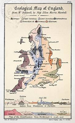 Mantell Photograph - Geological Map Of England, Mantell, 1838 by Paul D. Stewart