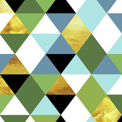 Pantone Painting - Geometric Abstract 81, Triangles, Gold, Greenery, Niagara, Kale by Tina Lavoie