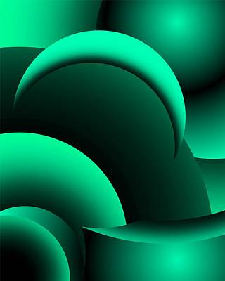 Digital Art - Geometric Abstract In Green by David Lane