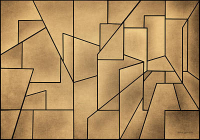 Gordin Digital Art - Geometric Abstraction IIi Toned by David Gordon