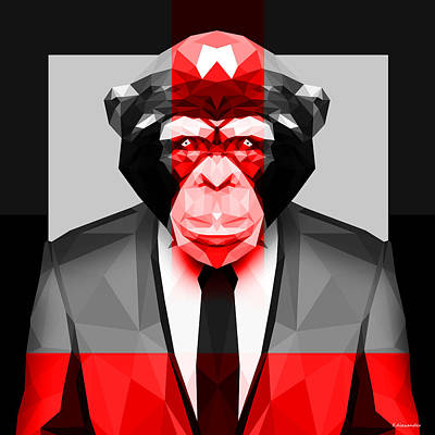 Chimpanzee Digital Art - Geometric Ape by Gallini Design
