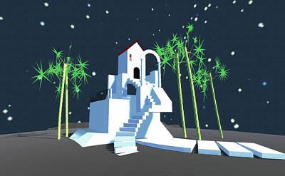 Digital Art - Geometric Building by GuoJun Pan
