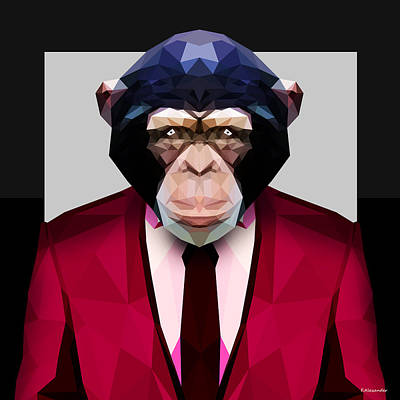 Geometric Animal Digital Art - Geometric Chimpanzee by Gallini Design