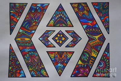 Meditative Drawing - Geometric Colors by Kathryn Jinae