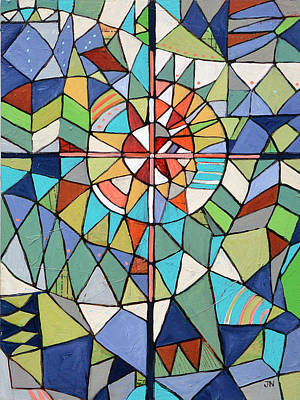 Painting - Geometric Cross by Jen Norton