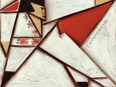 Painting -  Geometric Elvis Red Cape Art Print by Tommervik