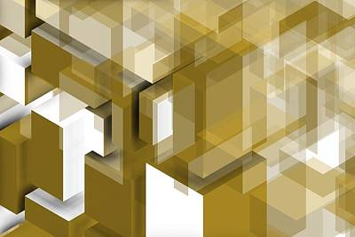 Abstract Digital Art - Geometric Gold Composition by Alberto RuiZ