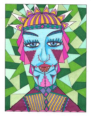 Drawing - Geometric King by Roberta Dunn
