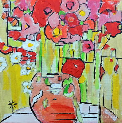Painting - Geometric Poppies by Jodie Marie Anne Richardson Traugott          aka jm-ART