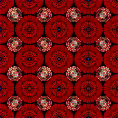 Digital Art - Geometric Red Flowers by Gillian Owen
