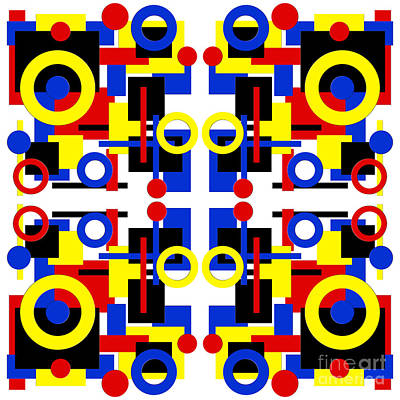 Digital Art - Geometric Shapes Abstract Square 2 by Andee Design
