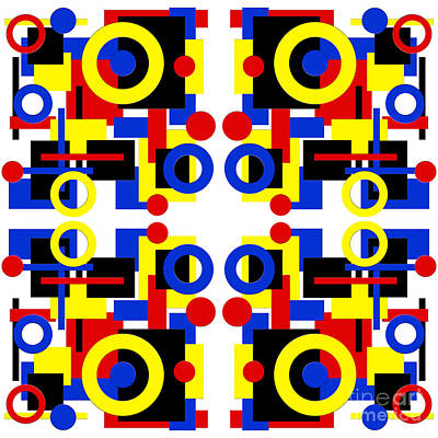 Digital Art - Geometric Shapes Abstract Square 3 by Andee Design