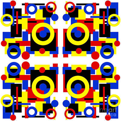 Digital Art - Geometric Shapes Abstract Square 4 by Andee Design