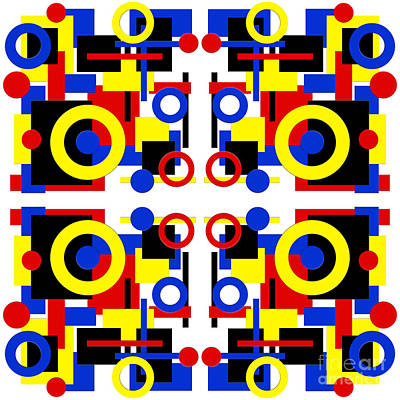Digital Art - Geometric Shapes Abstract Square 5 by Andee Design