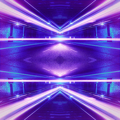 Traffic Digital Art - Geometric Street Night Light Pink Purple Neon Edition  by Philipp Rietz