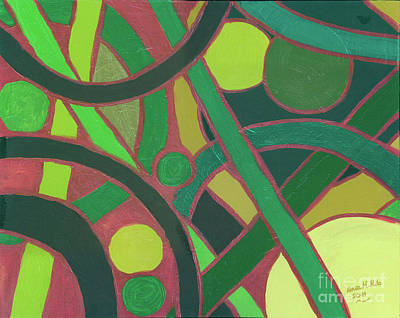 Print featuring the painting Geometric Study Green On Copper by Ania M Milo