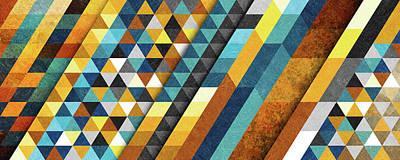 Geometric Sunset Panoramic Art Print by Francisco Valle