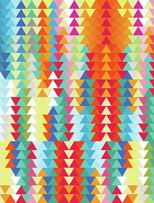 Calavera Digital Art - Geometric Triangles Sunset by Francisco Valle