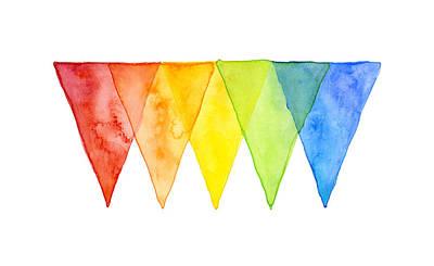Simplistic Painting - Geometric Watercolor Pattern Rainbow Triangles by Olga Shvartsur