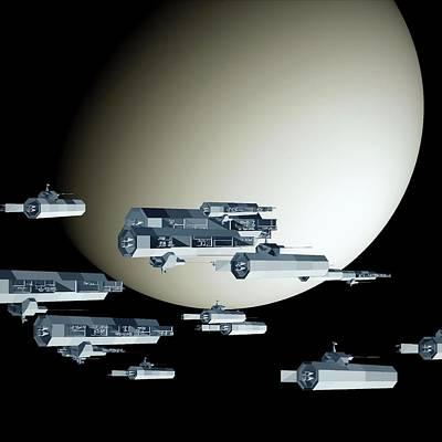 Digital Art - Geometry Spaceships by GuoJun Pan