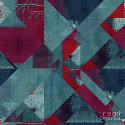 Red Abstract Digital Art - Geomix - 1332-01 by Variance Collections