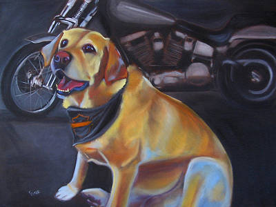 Labrador Retreiver Painting - George And The Harley by Kaytee Esser