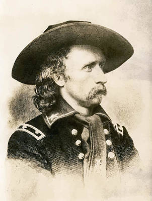 Landmarks Painting Royalty Free Images - George Armstrong Custer  Royalty-Free Image by War Is Hell Store