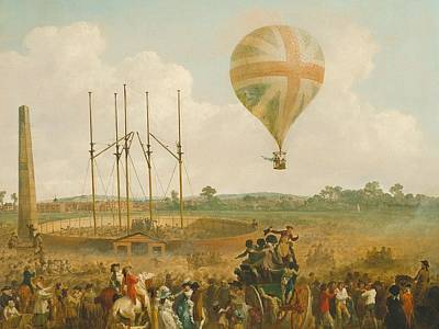 Net Painting - George Biggin Ascent In Lunardi Balloon by Julius Caesar
